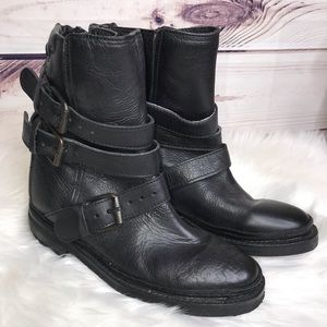 ASH Black Leather Moto Combat Strap Boots NWOT 38